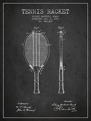 Tennis Racket Patent From 1907 - Charcoal Poster by Aged Pixel
