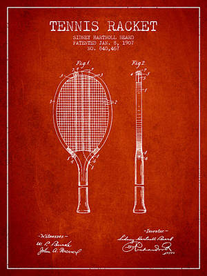 Tennis Racket Patent From 1907 - Red Poster by Aged Pixel