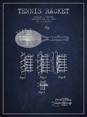 Tennnis Racket Patent Drawing From 1929 Poster by Aged Pixel