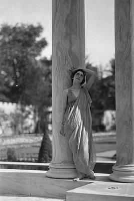 Teresa Duncan Posing Against A Column Poster by Arnold Genthe