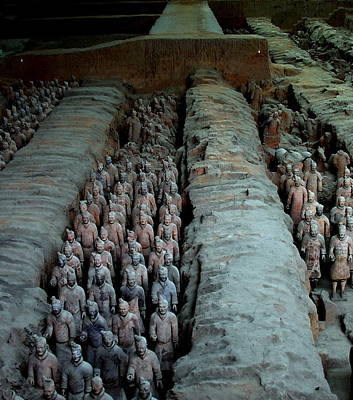 Terra Cotta Warriors  - Xian China Poster by Jacqueline M Lewis