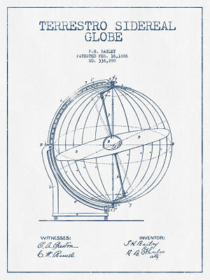 Terrestro Sidereal Globe Patent Drawing From 1886- Blue Ink Poster