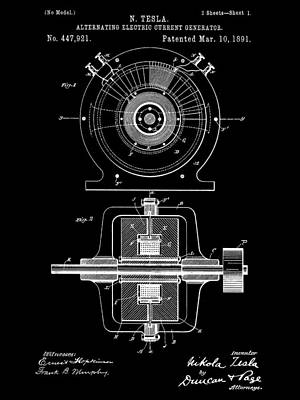 Tesla Alternating Electric Current Generator Patent 1891 - Black Poster by Stephen Younts
