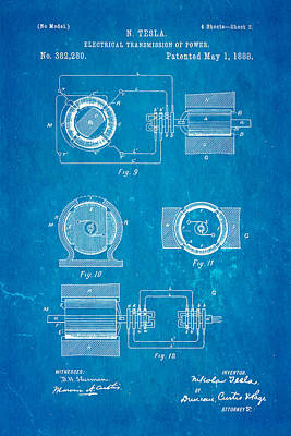Tesla Electrical Transmission Of Power Patent Art 2 1888 Blueprint Poster by Ian Monk