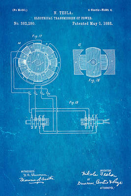 Tesla Electrical Transmission Of Power Patent Art 4 1888 Blueprint Poster by Ian Monk