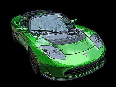 Tesla Roadster In Green Poster