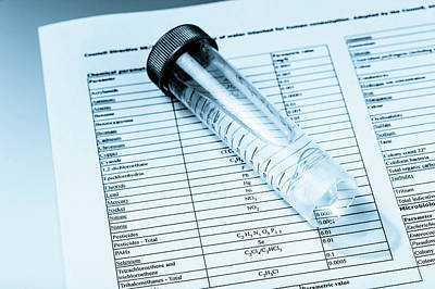 Test Tube Containing Water And Paperwork Poster