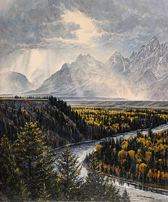Poster featuring the painting Teton Illumination by Steve Spencer