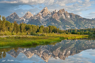 Teton Range Reflected In The Snake River Poster by Jeff Goulden