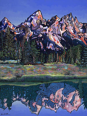 Poster featuring the painting Teton Summer by Bob Coonts