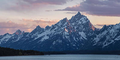 Teton Sunset On Jackson Lake Poster by Aaron Spong