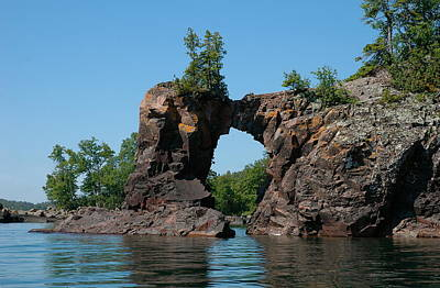 Poster featuring the photograph Tettegouche Arch By Kayak by Sandra Updyke