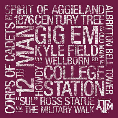 Texas Am College Colors Subway Art Poster by Replay Photos