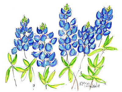 Texas Bluebonnets Watercolor Painting By Kmcelwaine Poster by Kathleen McElwaine