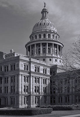 Texas Capitol In Monochrome Poster