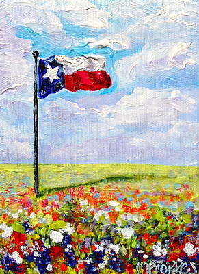 Texas Flag And Wildflowers Poster by Melissa Torres