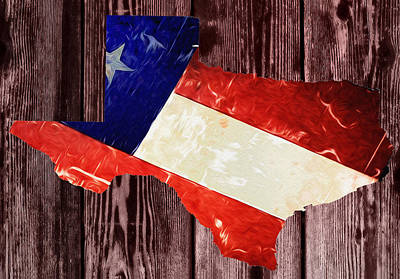 Texas Flag Map Poster by Bill Cannon