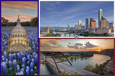 Texas Flag With Bluebonnets The State Capitol The Austin Skyline And 360 Bridge Poster by Rob Greebon