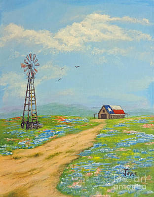Poster featuring the painting Texas High Sky by Jimmie Bartlett