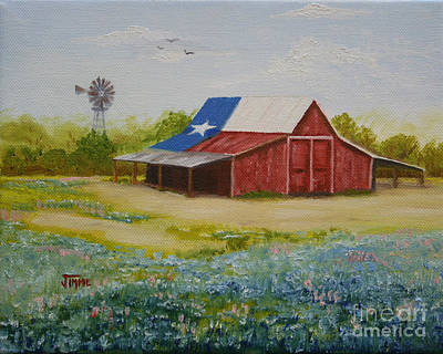 Poster featuring the painting Texas Hill Country Barn by Jimmie Bartlett