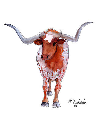 Texas Longhorn Poster by Kathleen McElwaine