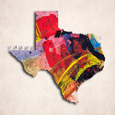 Texas Map Art - Painted Map Of Texas Poster by World Art Prints And Designs