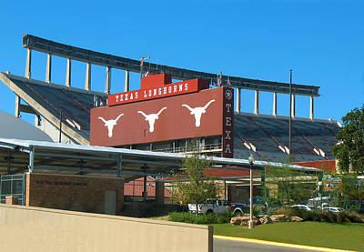 Texas Memorial Stadium - U T Austin Longhorns Poster by Connie Fox