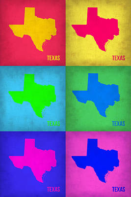 Texas Pop Art Map 1 Poster by Naxart Studio