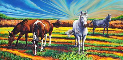 Poster featuring the painting Texas Quarter Horses by Greg Skrtic