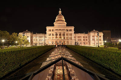 Texas State Capitol Building At Night Poster by Todd Aaron