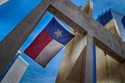 Poster featuring the photograph Texas State Flag Downtown Dallas by Kathy Churchman