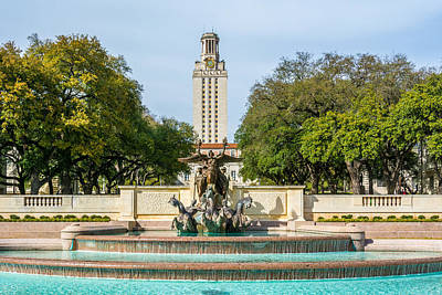 Texas Tower From Littlefield Fountain Poster