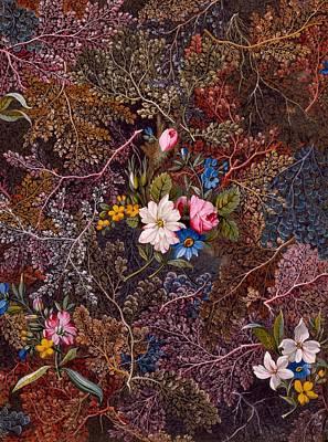 Antique Floral Textile Pattern Poster