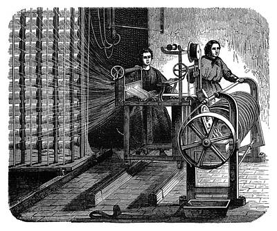 Textile Mill Warping Creel Poster