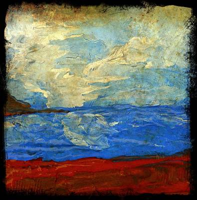 Textured Beach Scene Painting Fine Art Print Poster by Laura Carter