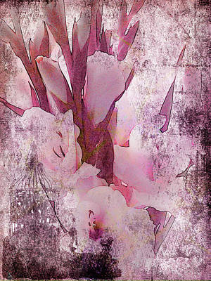 Poster featuring the photograph Textured Pink Gladiolas by Sandra Foster