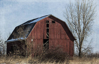 Textured Red Barn Poster by Kathleen Scanlan
