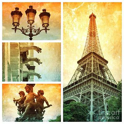 Textures Of Paris Collage Poster