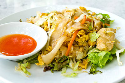 Thai Style Noodles With Vegetables And Chicken  Poster