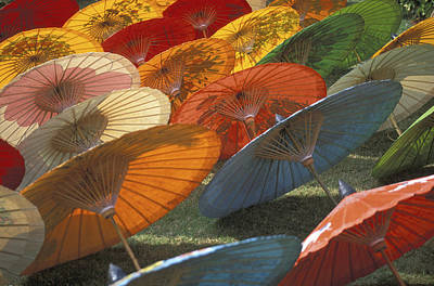 Thailand, Chiang Mai, Paper Umbrella Poster by Tips Images