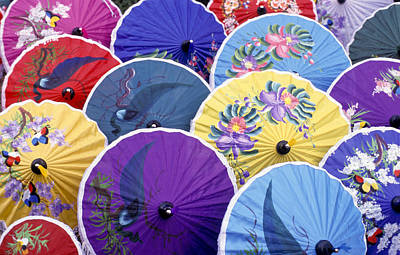 Thailand. Chiang Mai Region. Umbrellas Poster by Anonymous