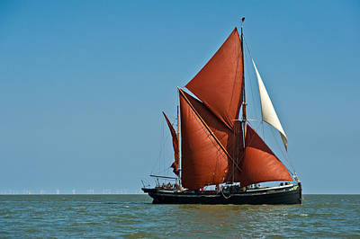 Thames Barge Hydrogen And Wind Farm Poster by Gary Eason