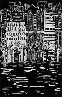 Thames In Winter Poster by Hilary Rosen