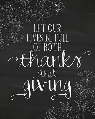 Thanks And Giving Chalkboard Poster