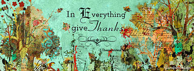 Thanksgiving Autumn Themed Inspirational Plaque Poster by Janelle Nichol