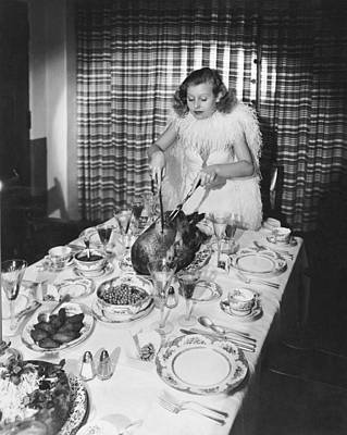 Thanksgiving Dinner Carving Poster by Underwood Archives