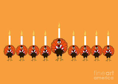 Thanksgivukkah Turkey Menorah Poster