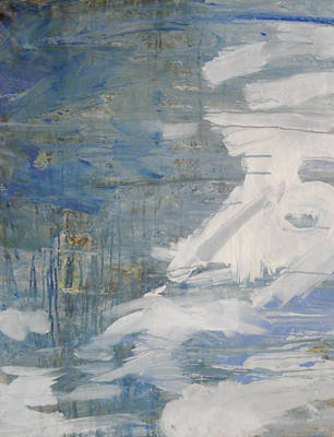 Poster featuring the painting Thaw Water Ice Abstraction by John Fish