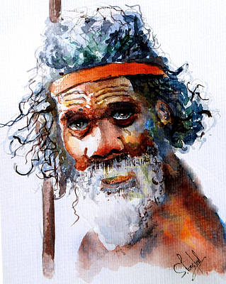 Poster featuring the painting The Aborigine by Steven Ponsford