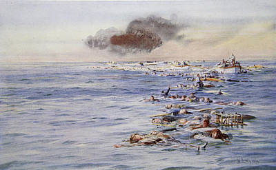The Aftermath Of The Lusitania Poster by William Lionel Wyllie